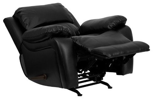 Reclining And Rocking Plush Over Stuffed Bonded Leather Chair, Recliner,  Black