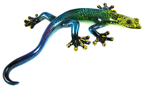 Gecko Wall Art Brilliant Lifelike Green Blue Purple Gecko Wall Hanging  Traditional Inspiration