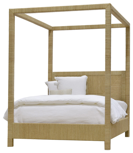 Alethea Coastal Beach Natural Seagrass Rope Canopy Bed
