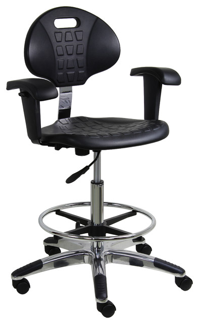 Shop Houzz Benchpro Work Bench Stool With Chrome Base And Fixed Arm Office Chairs
