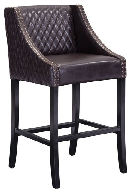 Modern Industrial Bar Chair Brown Faux Leather