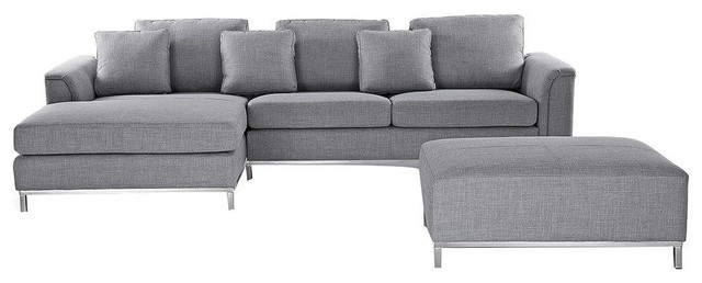 Oslo Grey Sectional Sofa, Light Grey