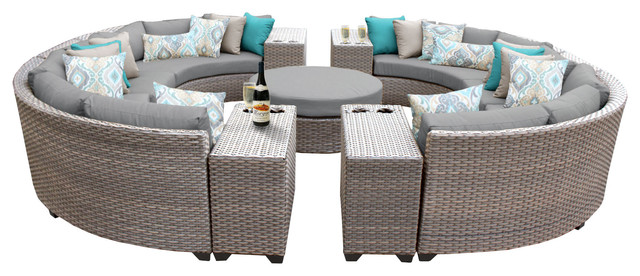 Florence 11 Piece Outdoor Wicker Patio Furniture Set, Gray.