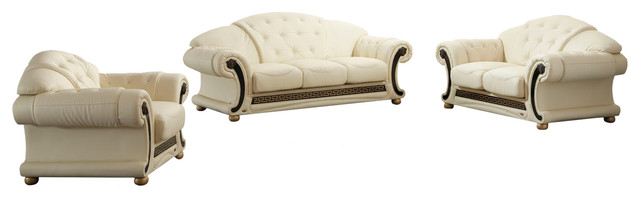Versa Cleopatra Traditional Style Leather Living Room Set, Beige