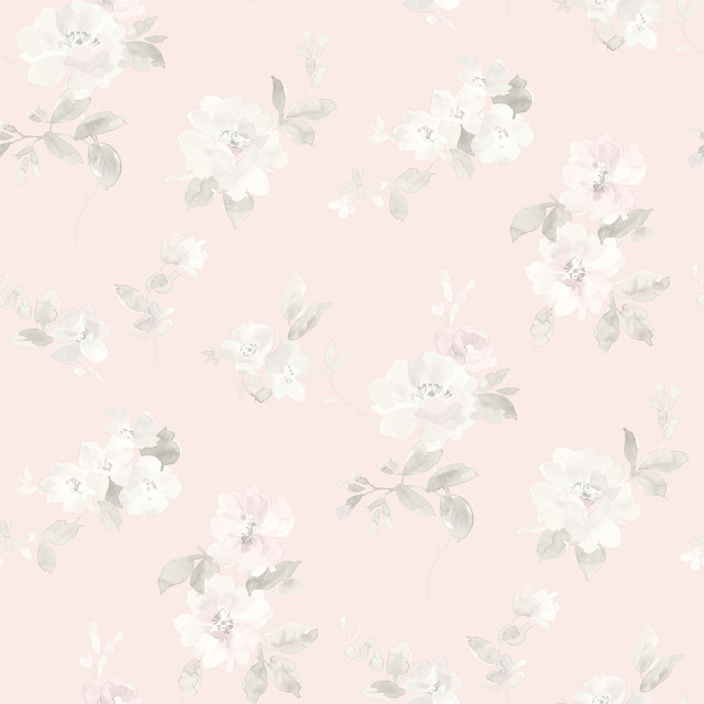 Captiva Light Pink Floral Toss Wallpaper Farmhouse