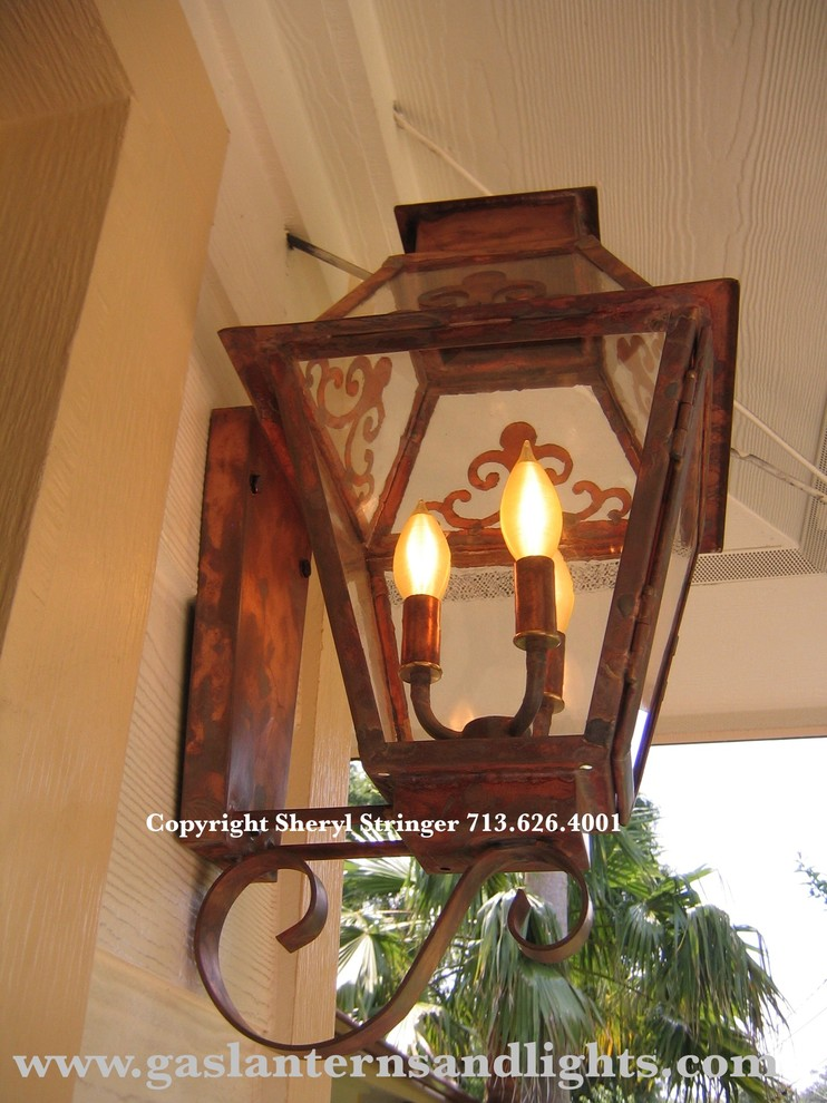 Sheryl's Veronica Electric Lantern with Glass Top and Window Scrolls