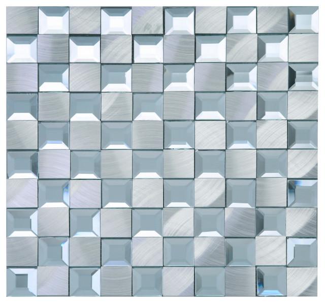 """11.88""""x11.88"""" Brynn Mixed Mosaic Tile Sheet, Silver"""