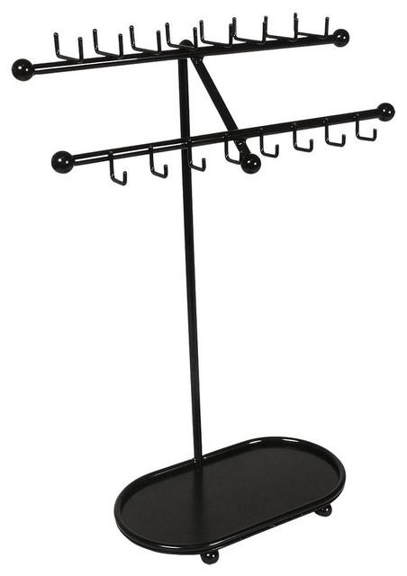 Designers Impressions JR21 Free Standing Tree Jewelry Organizer, Flat Black