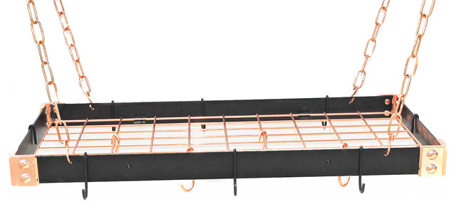KD Rectangle All Metal Pot Rack, Black and Copper