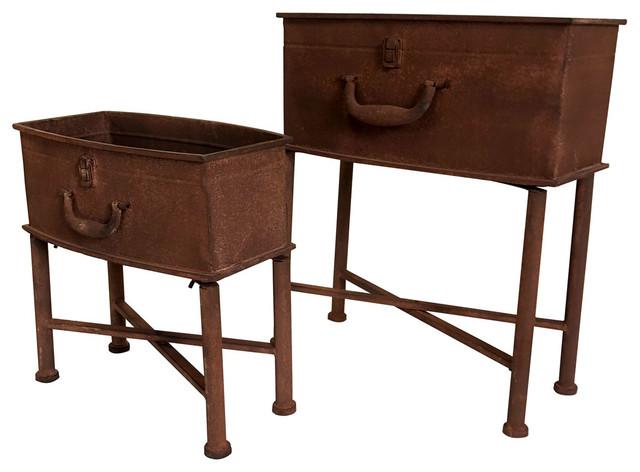 Charles Bentley Rust Effect Suitcase Planters, 2-Piece Set