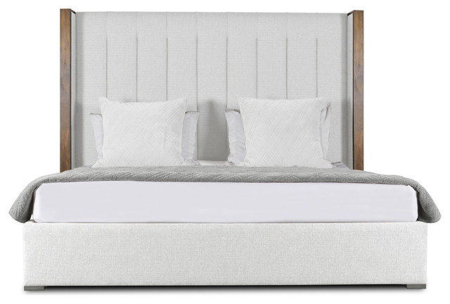 Claire Vertical Channel Tufting High Height Queen Size Bed, White.