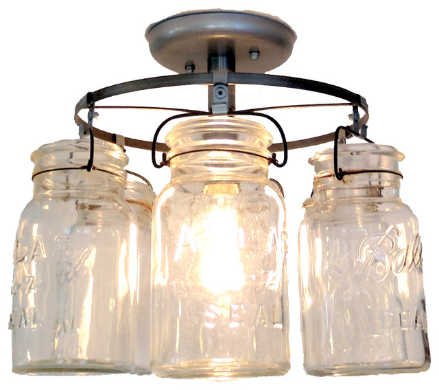 Vintage Mason Jar Ceiling Light Farmhouse Flush Mount Lighting