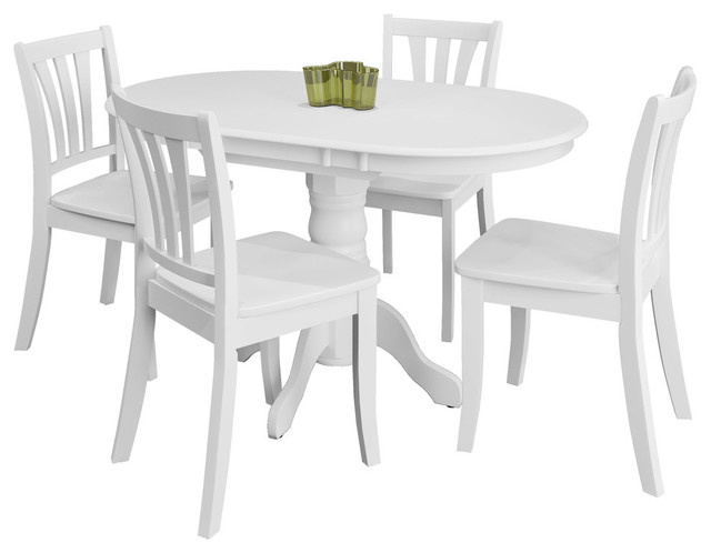 Corliving Dillon 5-Piece Extendable Pedestal Dining Set, White by CorLiving