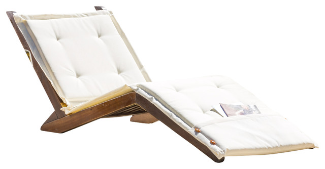 Midori Mahogany Wood Folding Chaise Lounger Chair W/ Cream Cushion