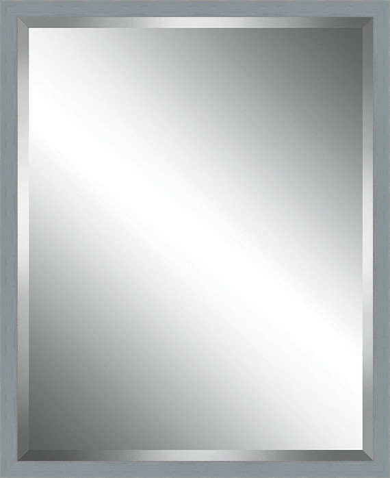 Grey Washed Wood Framed Beveled Plate Glass Mirror 14 X38 Transitional Bathroom Mirrors By Watermark By Somerset House