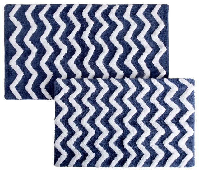 cotton chevron bathroom mats set of 2 navy
