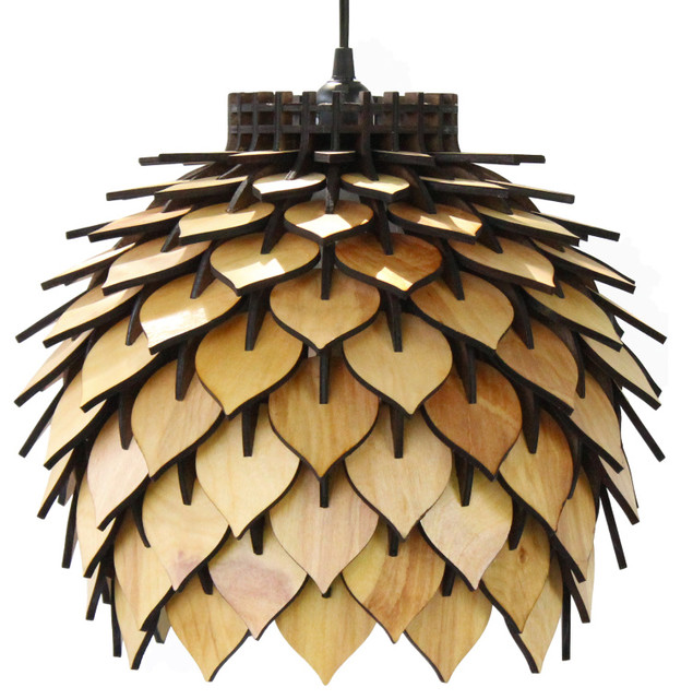 Spore Lamp, Laser Cut Parametric Lantern, Natural Wood Tone.