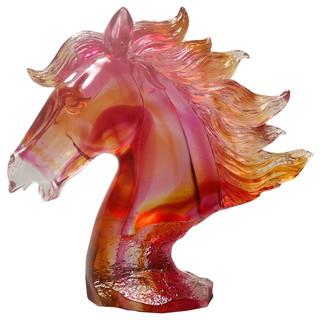 Chinese Red Liuli Crystal Glass Pate-de-verre Horse Head ...