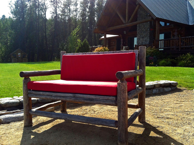 Jockey Red Bench Cushion On Log Bench Traditional Charlotte By