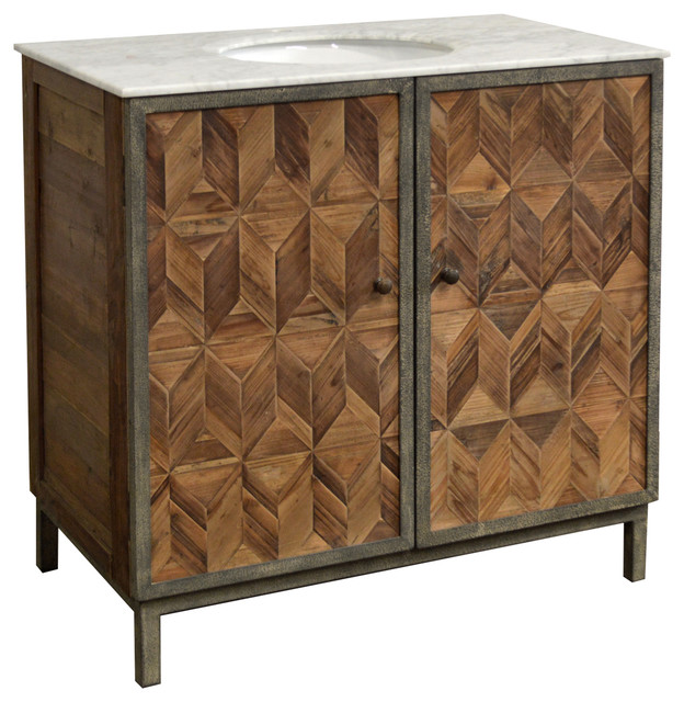 37 5 Reclaimed Pine Single Herringbone Bath Vanity Modern Bathroom Vanities And Sink Consoles By Rfdesign Houzz
