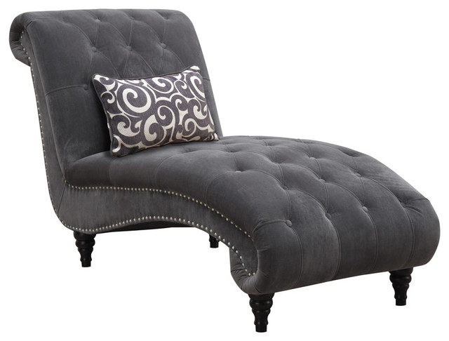 Emerald Home Furnishings - Hutton II Chaise Nailhead With Kidney ...