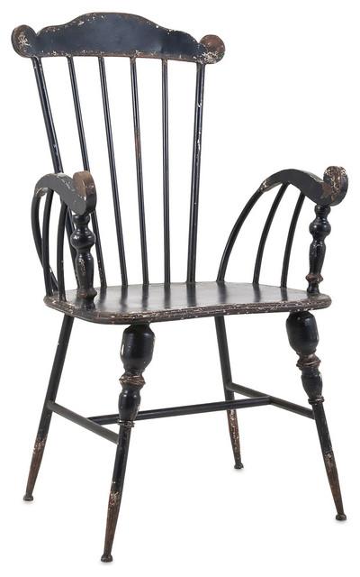 Trenton Black Metal Arm Chair Farmhouse Dining Chairs By Imax Worldwide Home