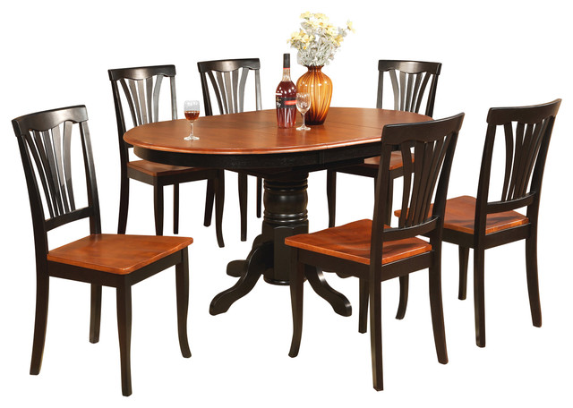 Avon blk kitchen table set traditional dining sets for Traditional kitchen table sets