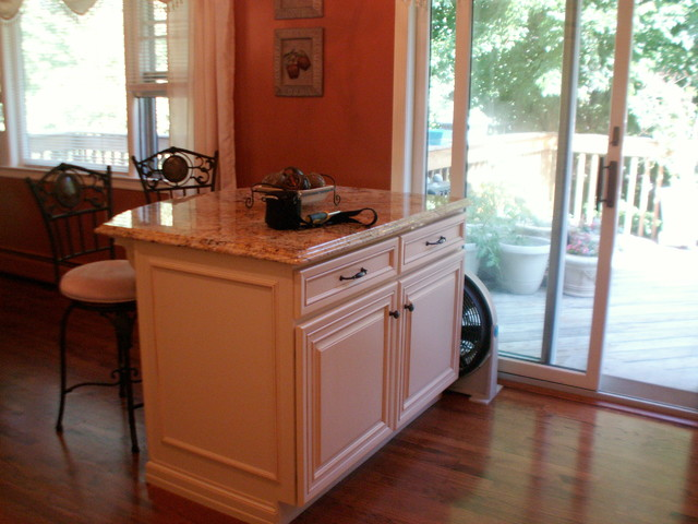 Before and after split level kitchen remodel new york for Split level kitchen remodel before and after
