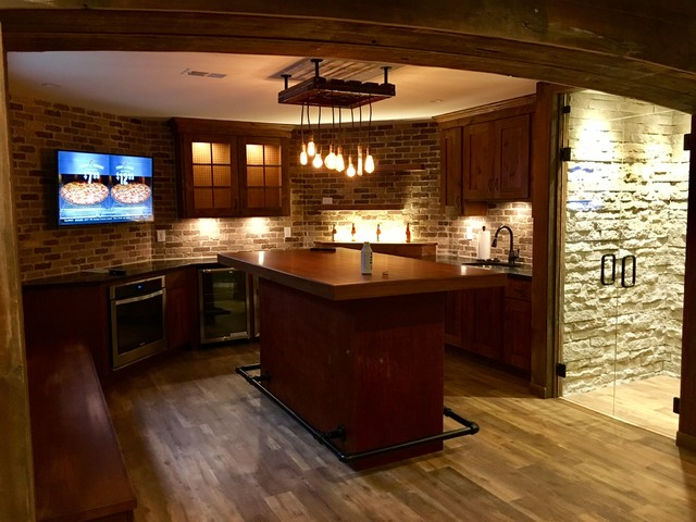 Novi finished basement project rustic basement for Rustic finished basement