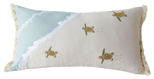 Sea Turtle Migration Coastal Lumbar Pillow Beach Style