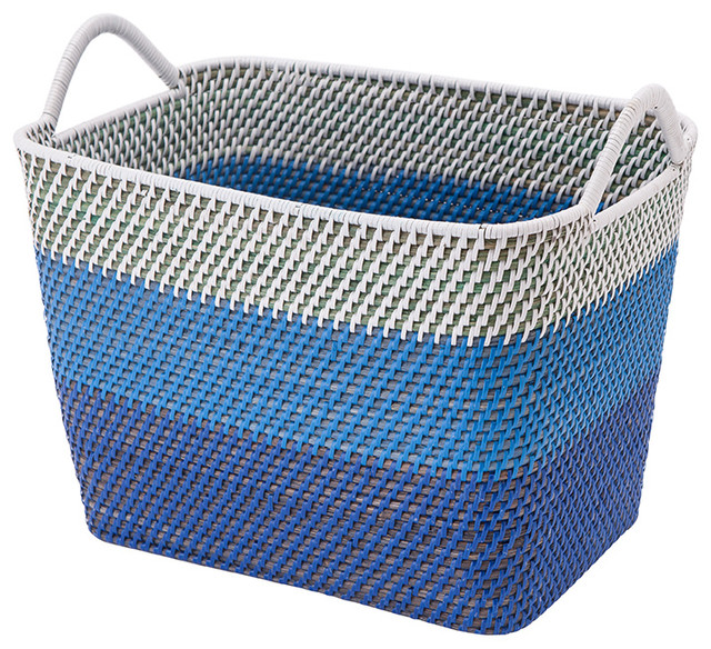 Merveilleux Laguna Rectangular Rattan Storage Basket With Ear Handles, Blue And White