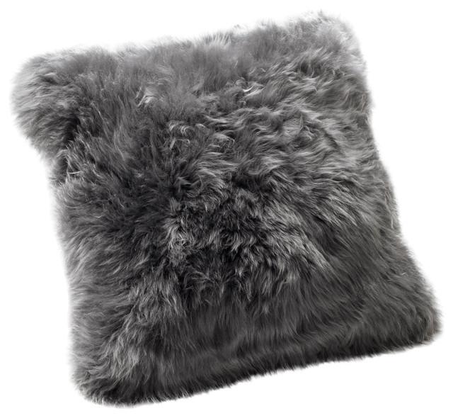 Large New Zealand Sheepskin Cushion, Grey