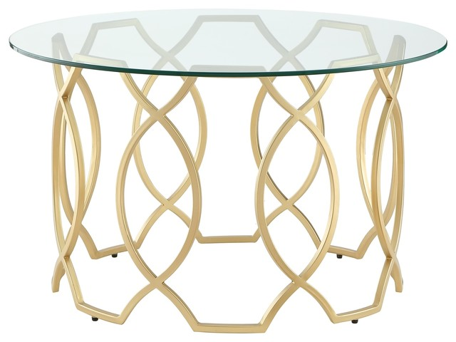 Fine Nicole Miller Aziz Coffee Table Round Clear Glass Top Metal Frame Gold Andrewgaddart Wooden Chair Designs For Living Room Andrewgaddartcom