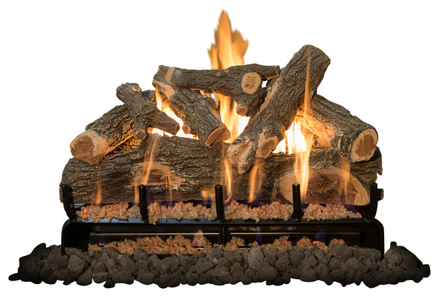 "30"" Arizona Weatherd Oak Logs, 3-Burner, Natural Gas."
