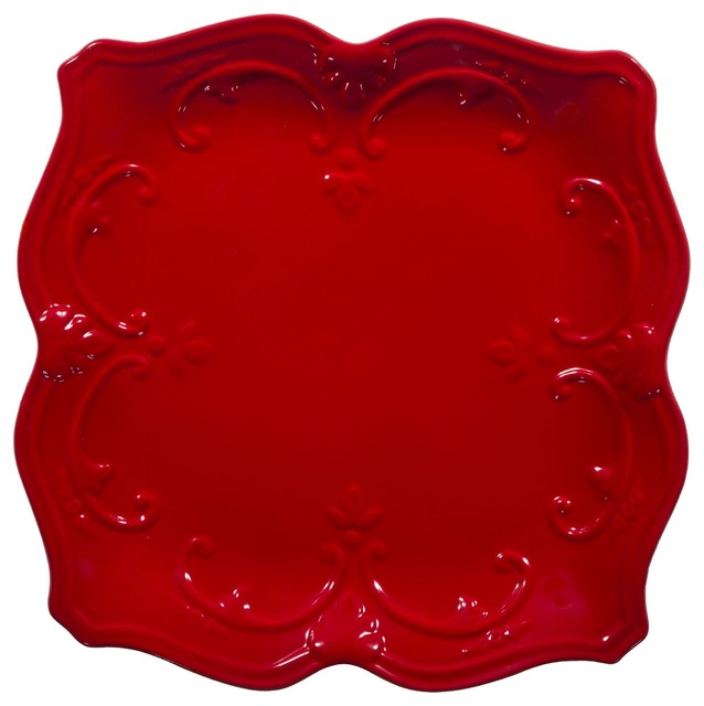 fancy scroll red square dinner plate