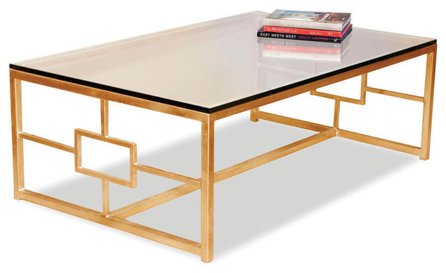 Somrig Contemporary Antique Gold Leaf Boutique Coffee Table Asian Coffee Tables