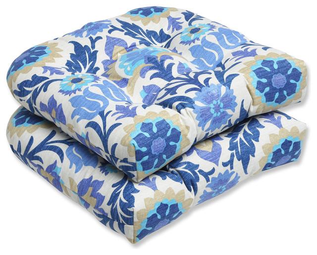 Santa Maria Azure Wicker Seat Cushion, Set of 2