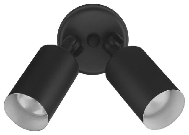 NICOR Double Cylinder Bullet Outdoor Lighting - Contemporary ...:NICOR Double Cylinder Bullet Outdoor Lighting, Black contemporary-outdoor -flood-and-,Lighting