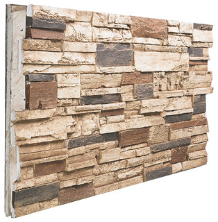 Stacked Stone Wall Panel Almond Rustic Mosaic Tile