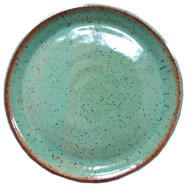 Handmade Ceramic Platter In Coastal Kitchen: Earthware Handmade Dinner Plate, Rustic Green