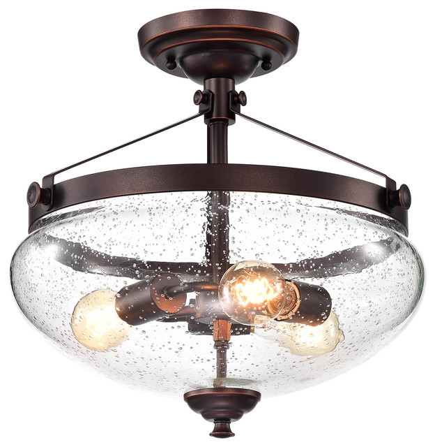 3 Light Oil Rubbed Bronze Semi Flushmount With Seeded Gl Inverted Bell Shade