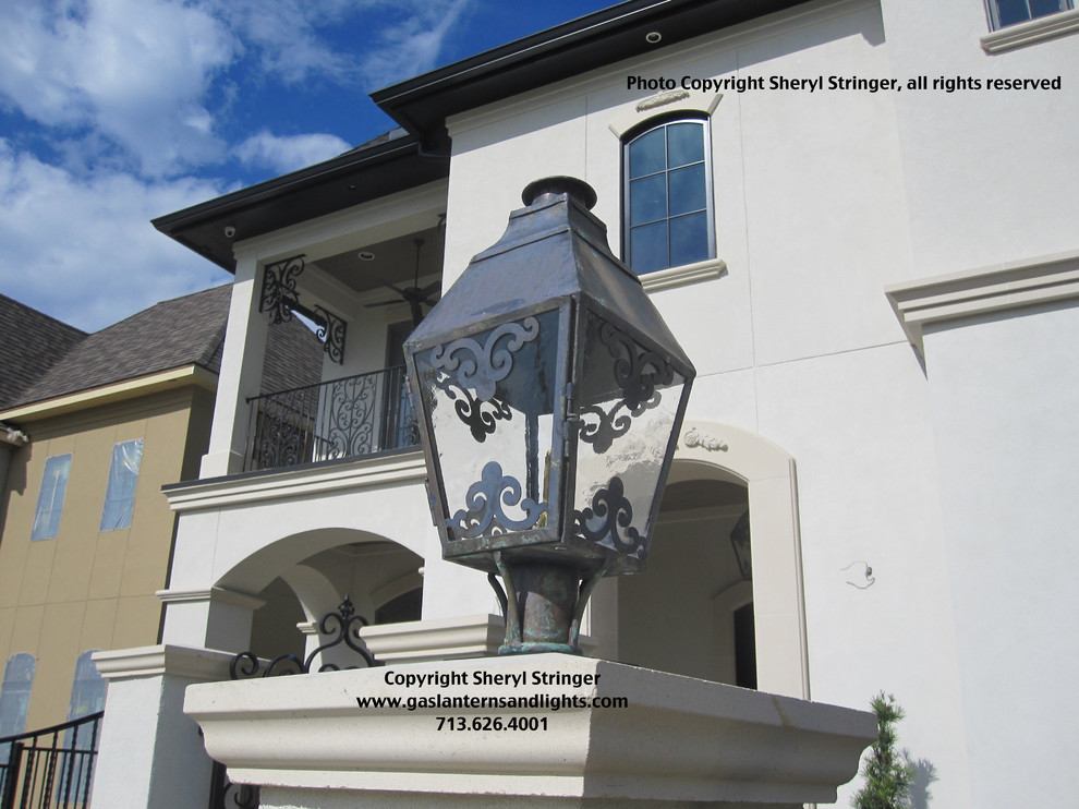Sheryl's French Style Gas Lantern on Column with Scrolls and Dark Patina Finish
