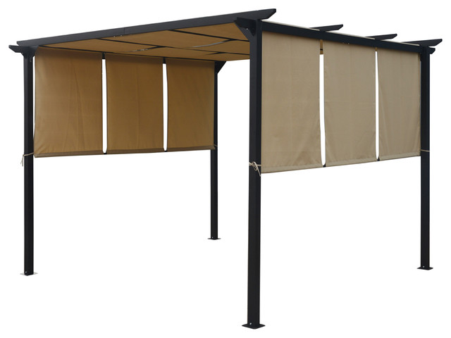 Dione Outdoor Steel Framed 10&x27; By 10&x27; Gazebo, Beige.