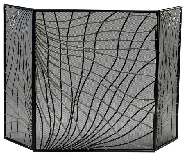 Finley Contemporary Silver And Black Iron Fireplace Screen.