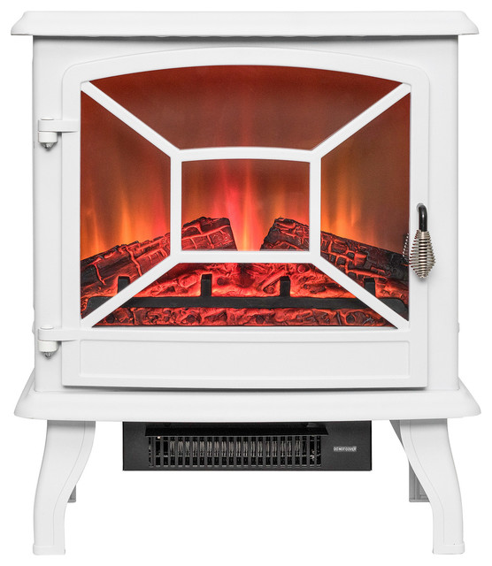 "Akdy 20"" Freestanding Portable Electric Fireplace 3d Flames Firebox, White."
