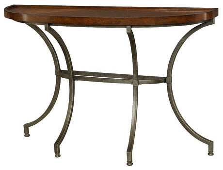 super popular 3dd86 f829a Hammary Barrow Half Moon Sofa Table With Mahogany Top and Metal Base