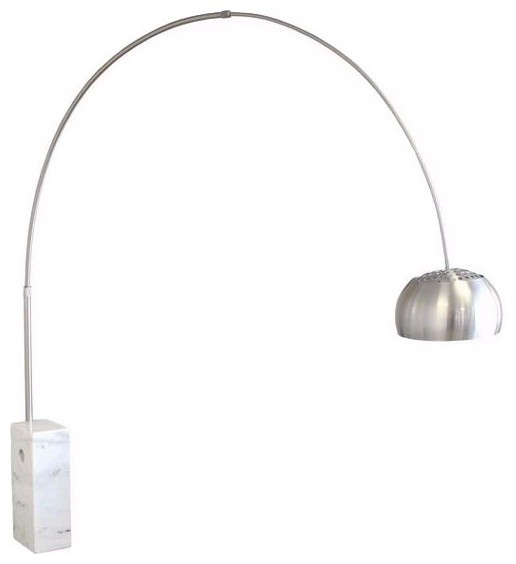 Arco Marble Floor Lamp, White, Round Tube Contemporary Floor Lamps