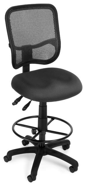 Mesh Ergonomic Task Chair And Drafting Kit, Gray.