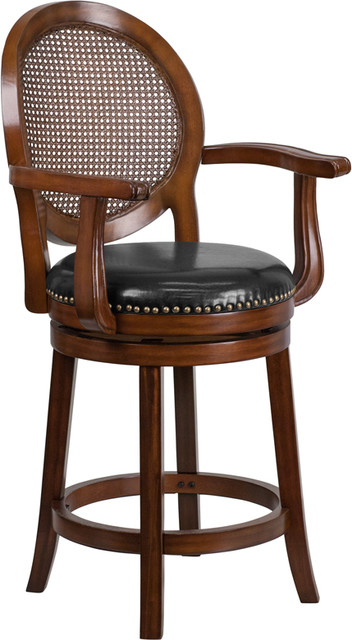 Flash Expresso Wood Counter Stool Arms And Black Leather