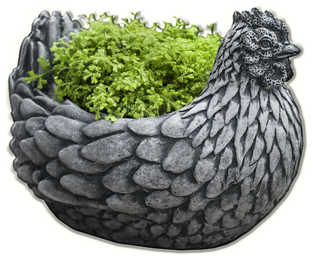 Beau Chicken Cast Stone Garden Planter